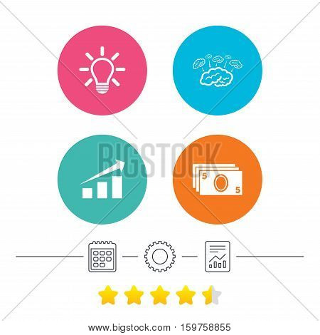 Chart with arrow, brainstorm icons. Cash money and lamp idea signs. Scheme and Diagram symbol. Calendar, cogwheel and report linear icons. Star vote ranking. Vector