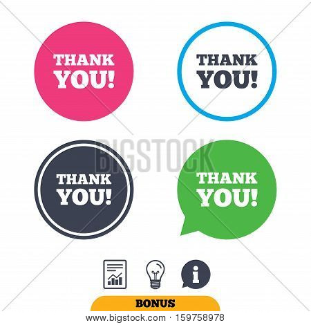 Thank you sign icon. Gratitude symbol. Report document, information sign and light bulb icons. Vector