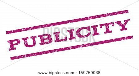 Publicity watermark stamp. Text tag between parallel lines with grunge design style. Rubber seal stamp with dust texture. Vector purple color ink imprint on a white background.