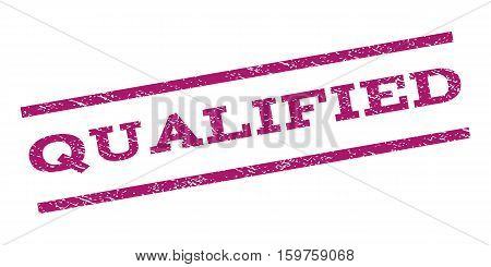 Qualified watermark stamp. Text tag between parallel lines with grunge design style. Rubber seal stamp with dust texture. Vector purple color ink imprint on a white background.