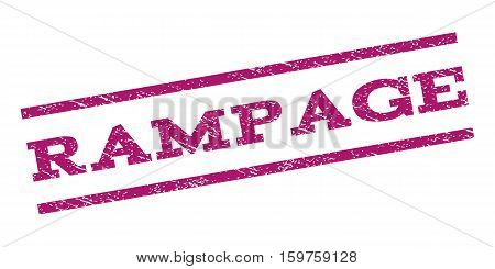 Rampage watermark stamp. Text caption between parallel lines with grunge design style. Rubber seal stamp with dust texture. Vector purple color ink imprint on a white background.