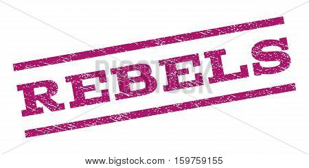 Rebels watermark stamp. Text tag between parallel lines with grunge design style. Rubber seal stamp with dust texture. Vector purple color ink imprint on a white background.