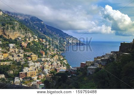 beautiful scenic of positaino mediterranian coastal south italy important traveling destination
