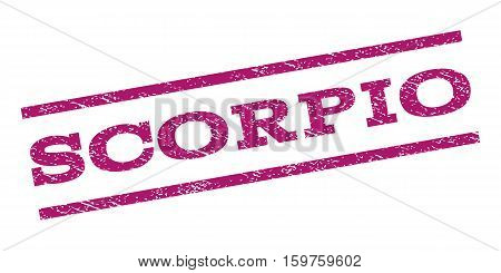 Scorpio watermark stamp. Text tag between parallel lines with grunge design style. Rubber seal stamp with scratched texture. Vector purple color ink imprint on a white background.
