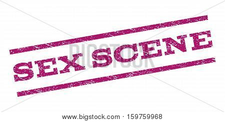 Sex Scene watermark stamp. Text caption between parallel lines with grunge design style. Rubber seal stamp with dirty texture. Vector purple color ink imprint on a white background.