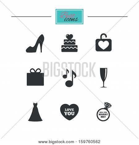 Wedding, engagement icons. Cake with heart, gift box and brilliant signs. Dress, shoes and musical notes symbols. Black flat icons. Classic design. Vector