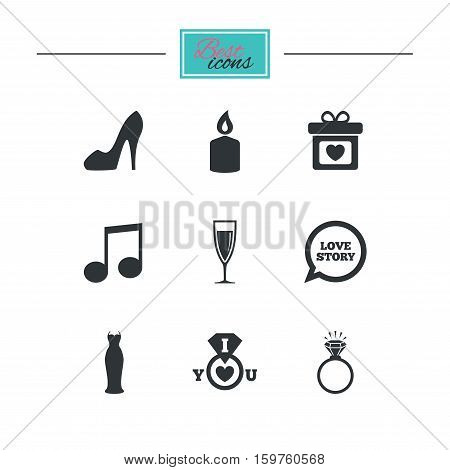 Wedding, engagement icons. Ring with diamond, gift box and music signs. Dress, shoes and champagne glass symbols. Black flat icons. Classic design. Vector