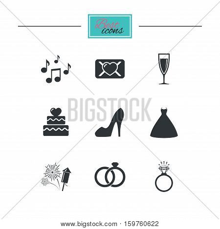 Wedding, engagement icons. Cake with heart, gift box and vow love letter signs. Dress, fireworks and musical notes symbols. Black flat icons. Classic design. Vector