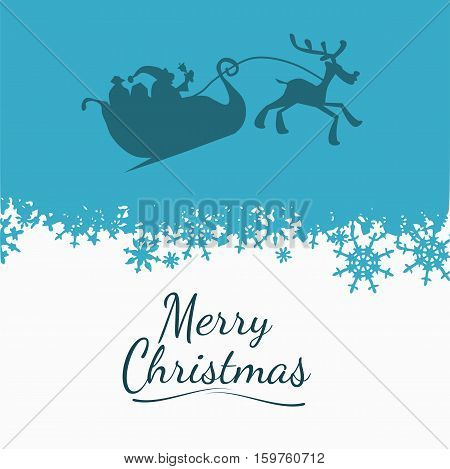 Santa and his sledge on a blue sky with snow background and the words Merry Christmas