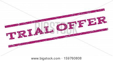 Trial Offer watermark stamp. Text caption between parallel lines with grunge design style. Rubber seal stamp with dust texture. Vector purple color ink imprint on a white background.