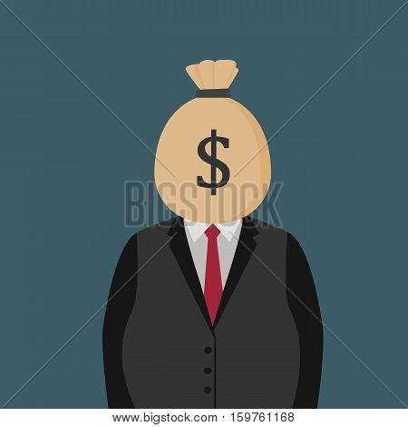 Fat Man With Moneybag On His Head. Corrupt People Illustration