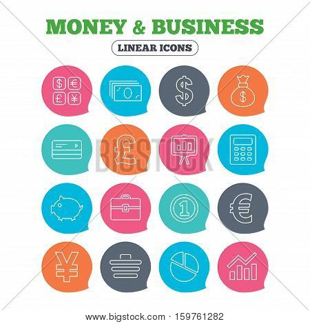 Money and business icons. Cash and cashless money. Usd, eur, gbp and jpy currency exchange. Presentation, calculator and shopping cart symbols. Flat speech bubbles with linear icons. Vector