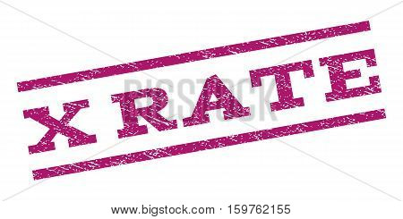X Rate watermark stamp. Text caption between parallel lines with grunge design style. Rubber seal stamp with dirty texture. Vector purple color ink imprint on a white background.