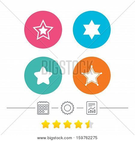 Star of David icons. Sheriff police sign. Symbol of Israel. Calendar, cogwheel and report linear icons. Star vote ranking. Vector