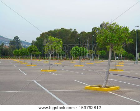 Empty carpark in large shopping mall in Malaga suburb