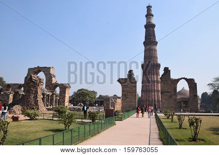 NEW DELHI, INDIA - FEBRUARY 03, 2016 - Overall view of Qutab minar archaeological site
