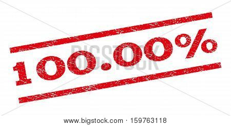 100.00 Percent watermark stamp. Text caption between parallel lines with grunge design style. Rubber seal stamp with dirty texture. Vector red color ink imprint on a white background.