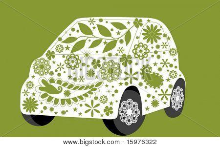 green flower mini car