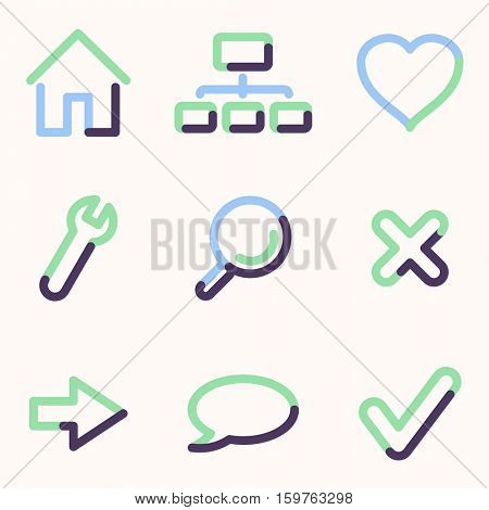Basic web icons, colour contour series