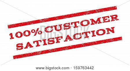 100 Percent Customer Satisfaction watermark stamp. Text caption between parallel lines with grunge design style. Rubber seal stamp with unclean texture.