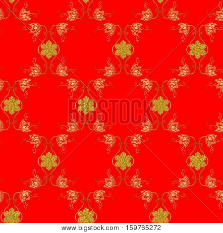 Seamless ornamental pattern with gold flowers and snowflakes on bright red background.