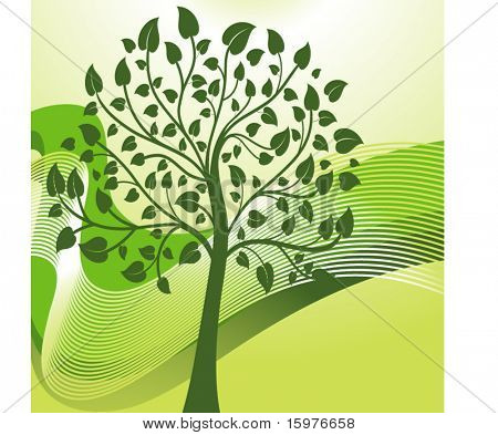 green tree with lines behind