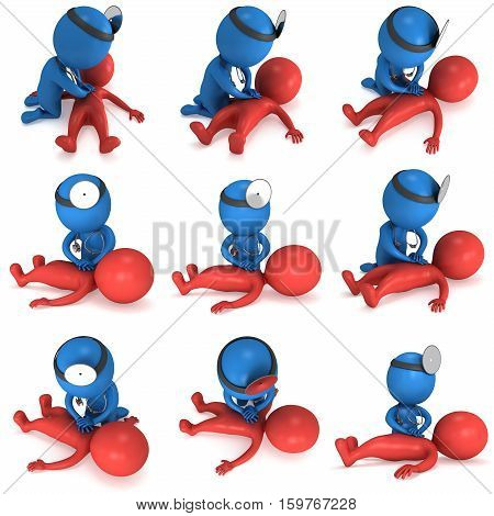 Doctor doing CPR First Aid. 3d render CPR training concept on white background. Illustration with red and blue men set