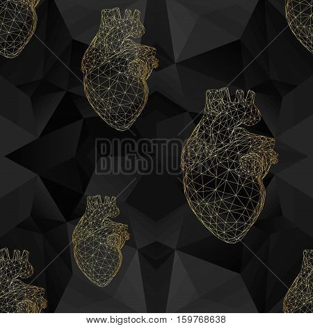 Creative concept Background of the human heart patter. Polygonal design style for business. Vector Illustration eps 10 for your design