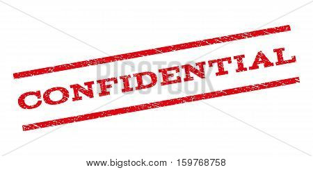 Confidential watermark stamp. Text caption between parallel lines with grunge design style. Rubber seal stamp with scratched texture. Vector red color ink imprint on a white background.