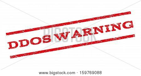 Ddos Warning watermark stamp. Text caption between parallel lines with grunge design style. Rubber seal stamp with scratched texture. Vector red color ink imprint on a white background.