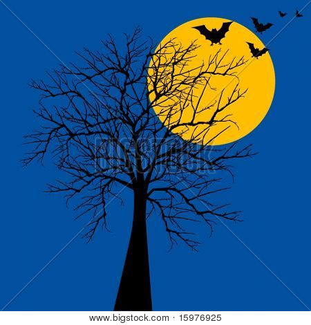Halloween tree with bats