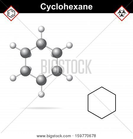 Cyclohexane chemical formula and molecular structure organic reagent cycloalkanes family 3d vector illsutration isolated on white background eps 10