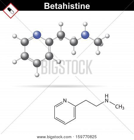 Betahistine medical drug chemical formula and 3d model anti-vertigo drug 3d vector illsutration isolated on white background eps 10