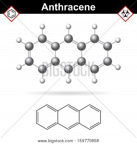 Anthracene chemical molecule polycyclic aromatic hydrocarbon class scientific vector 2d and 3d illustration isolated on white background eps 10