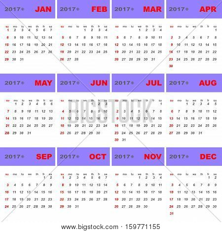 2017 calendar template for business use stock vector