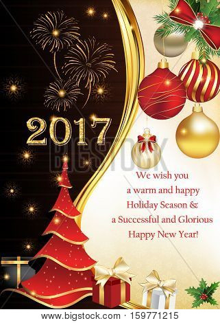 Season's wishes: We wish you a warm and happy Holiday Season and a Successful and Glorious Happy New Year! Printable greeting card with Christmas tree, fireworks and baubles. Size of a custom postcard