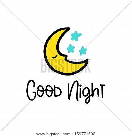 Vector calligraphy image. Hand drawn lettering poster, vintage typography card. Good night