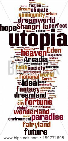 Utopia word cloud concept. Vector illustration on white