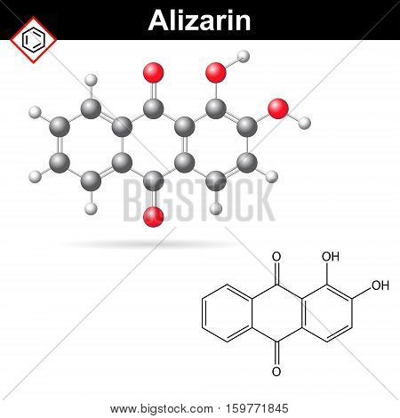Structural chemical formula and model of alizarin dye 2d and 3d vector illustration isolated on white background eps 10