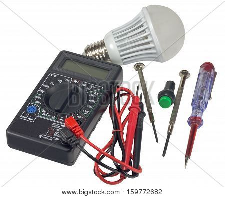 Multimeter and electronic tools on a white background