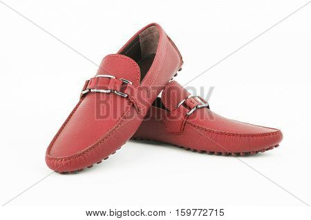 Male Shoes Isolated On White Background. Pair Of Red Leather Loafers Shoes.