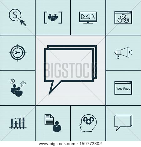 Set Of 12 Advertising Icons. Can Be Used For Web, Mobile, UI And Infographic Design. Includes Elements Such As SEO, Focus, Per And More.