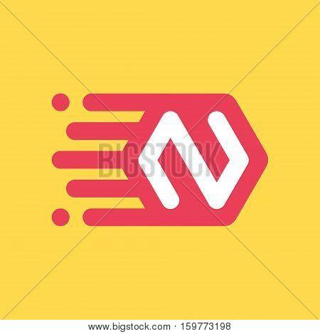 N letter icon on space ship plate flat pictogram 2d vector logo illustration eps 10