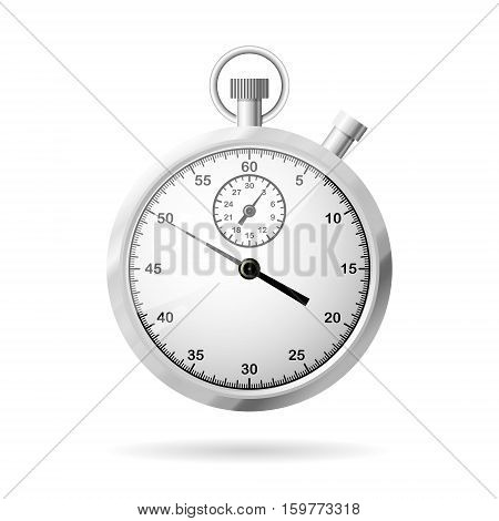Realistic metallic stopwatch close-up front view of stopwatch time concept 3d realistic vector illustration isolated on white background eps 10