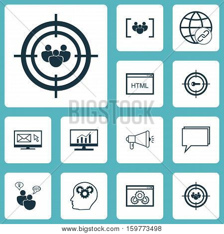 Set Of 12 Marketing Icons. Can Be Used For Web, Mobile, UI And Infographic Design. Includes Elements Such As Comprehensive, Bulding, Audience And More.