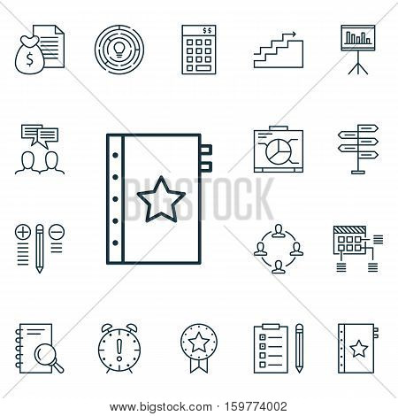 Set Of 16 Project Management Icons. Can Be Used For Web, Mobile, UI And Infographic Design. Includes Elements Such As Finance, Solution, Schedule And More.