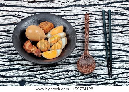 Ready Stewed Boiled Egg With Tofu And Streaky Pork Served.