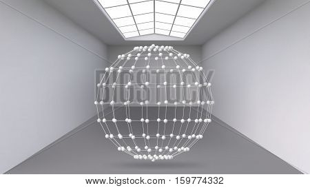 Hanging abstract polygonal object. The white room with the subject in the middle. Exhibition space for objects of modern art. Sci-Fi objects. Structural volumetric grid
