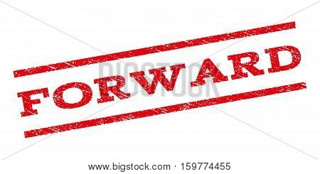 Forward watermark stamp. Text caption between parallel lines with grunge design style. Rubber seal stamp with dirty texture. Vector red color ink imprint on a white background.