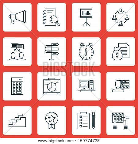 Set Of 16 Project Management Icons. Can Be Used For Web, Mobile, UI And Infographic Design. Includes Elements Such As Discussion, Presentation, Win And More.